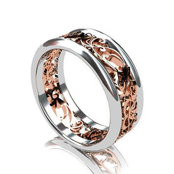 Wide Two Tone Filigree Wedding Band Rose Gold Ring White Go
