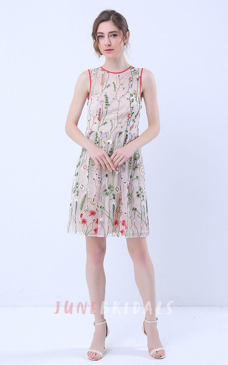 Mid length dresses for wedding guests  Floral Deep VBack Sleeveless Knee Length Dress with Belt  Designer