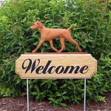Vizsla Welcome Sign Stake. Home,Yard & Garden Decor. Dog Wood Products & Gifts.