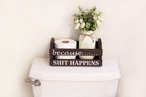 Funny Bathroom Decor, Rustic Bathroom Decor, Toilet Paper Holder, Bathroom Mason Jar Decor, Bathroom Humor, Funny Gifts, Bathroom Signs