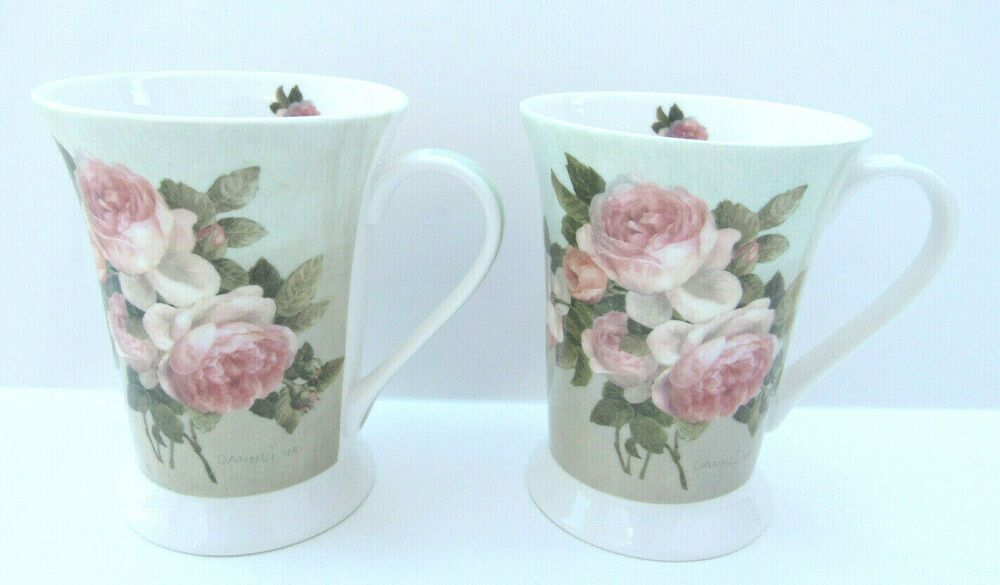 Two Portmeirion Pimpernel Antique Roses Footed Coffee Mugs Cups 5543 Portmeirionpimpernel Portmeirion