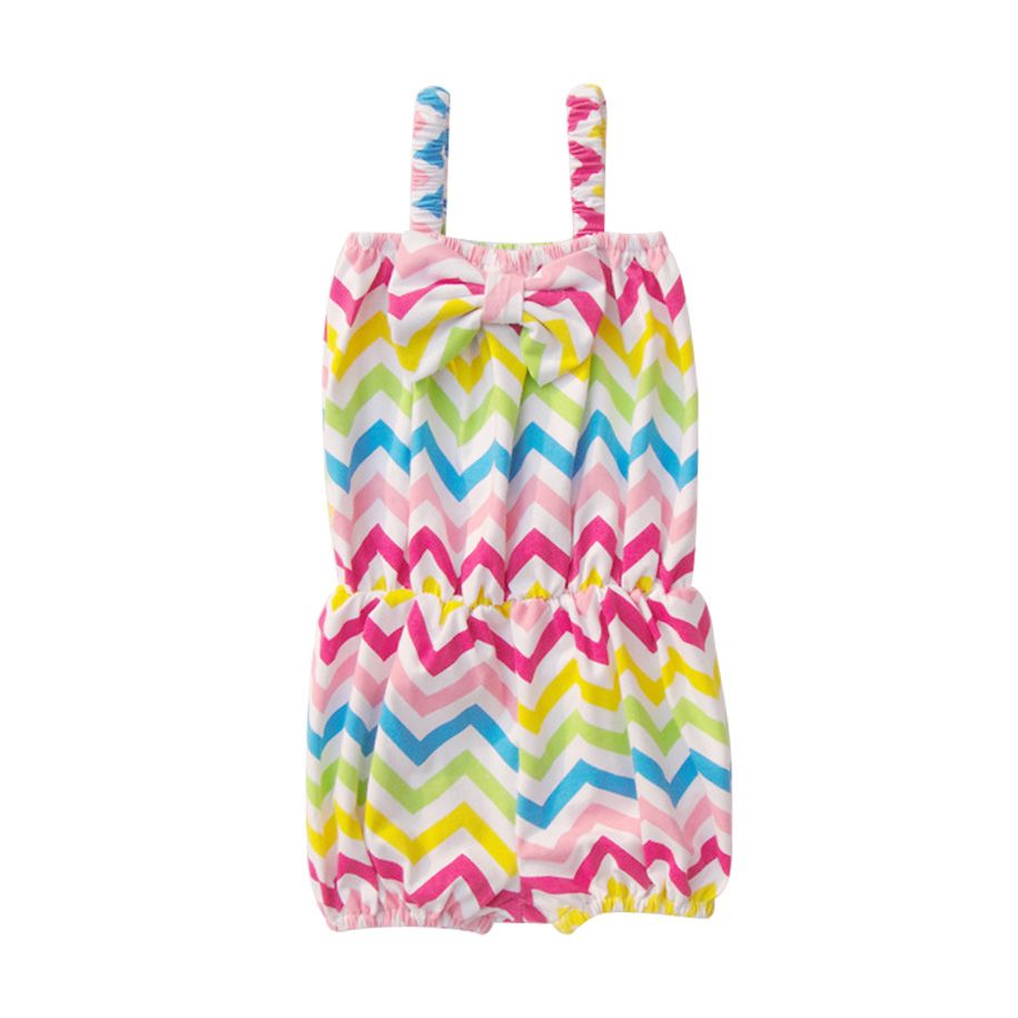 Rainbow Chevron Bowknot Romper, 3% discount @ PatPat Mom Baby Shopping App