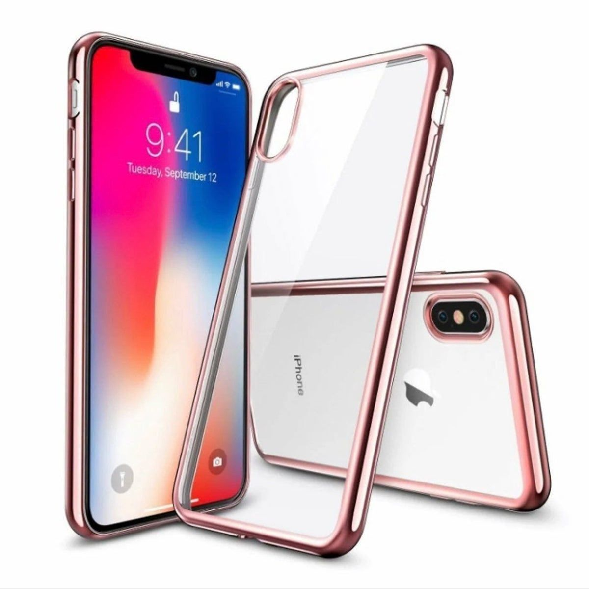 Iphone X Xs Clear Case Rose Gold Frame