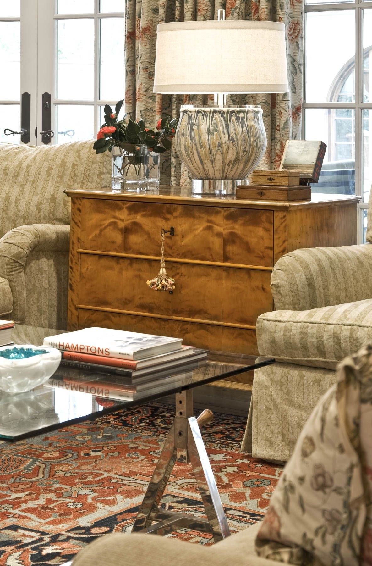 Rooms with rugs antique rug persian small settings  vignettes collins interiors also chest next to sofa