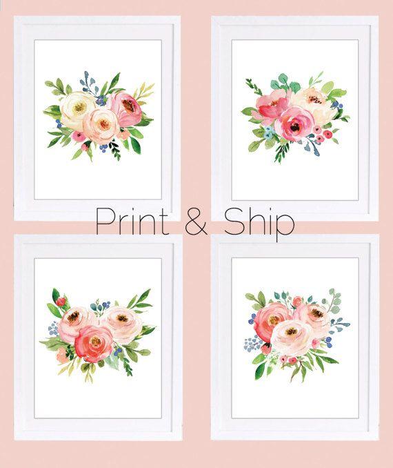 Set of 4 Prints Floral Nursery Prints PRINT AND SHIP