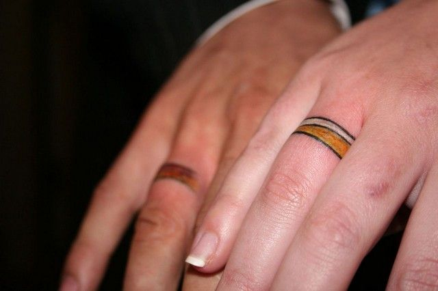 Couple Wedding Ring Tattoos 1567jpg Couple Rings Pinterest
