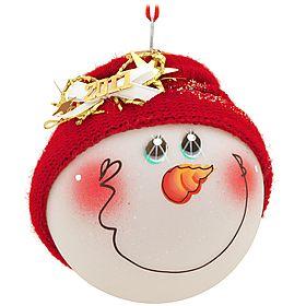 SockHead™ 2011 Snowman Glass Ornament