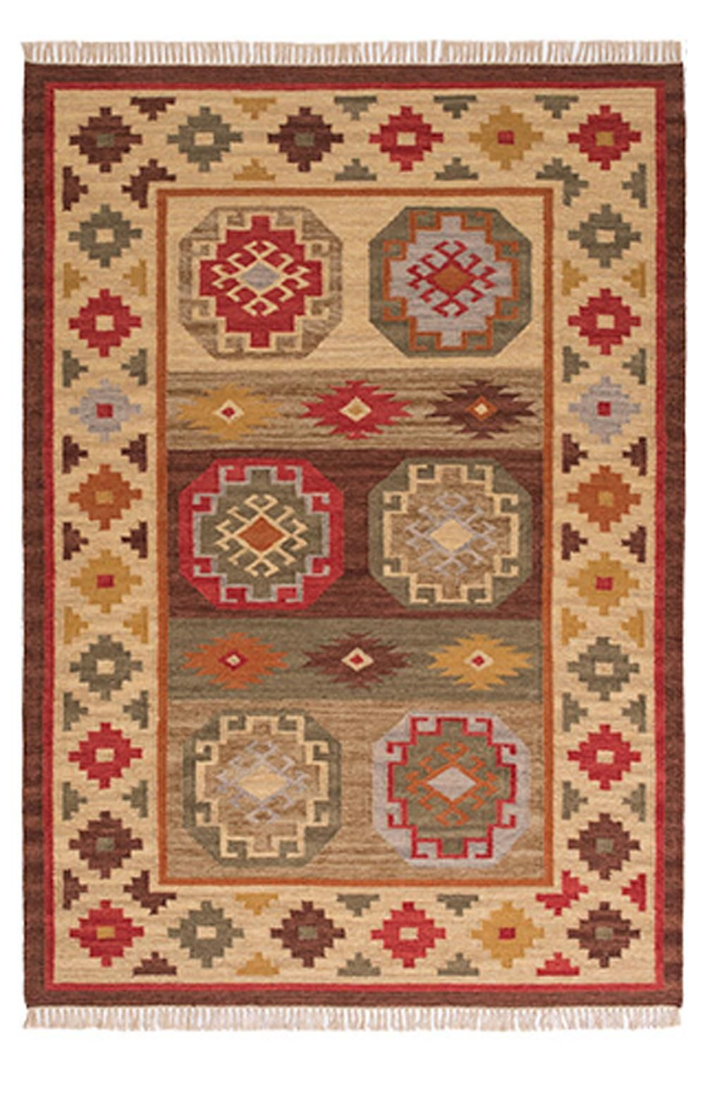 Kohra Brown Red Orange Multi Coloured Geometric Wool Kilim Rug