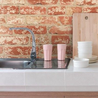 Decorate with red brick peel and stick wall decor pinteres stuccoed red brick peel and stick wallpaper teraionfo