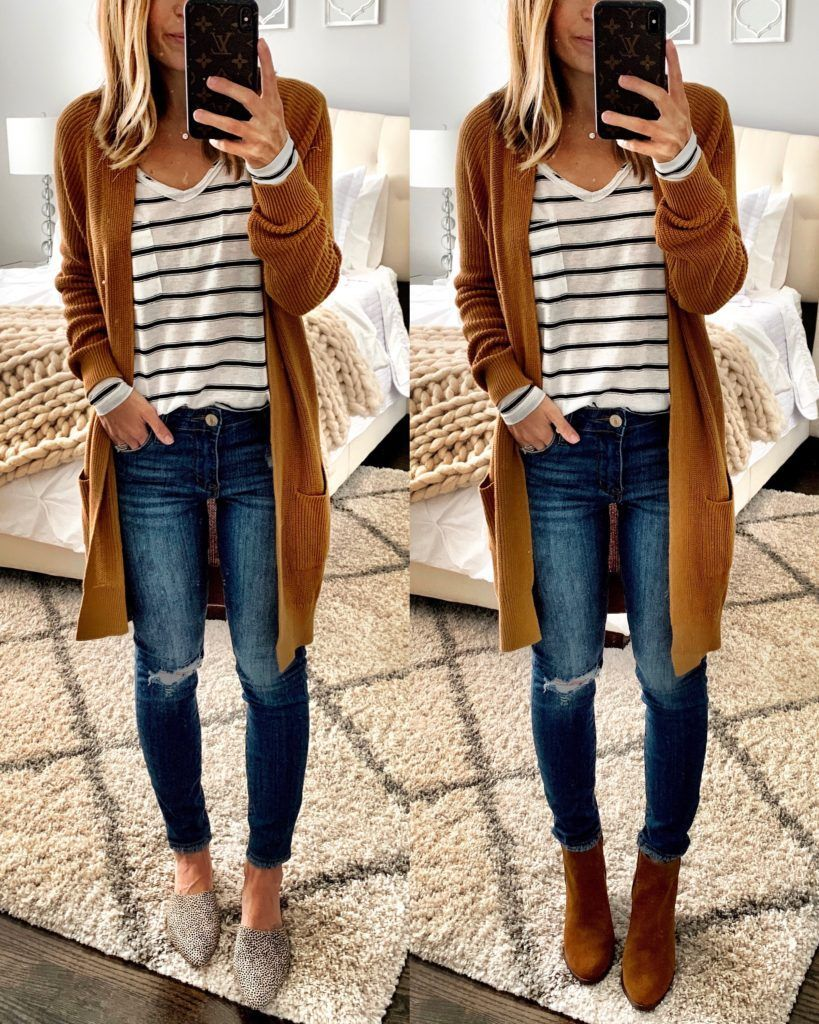 IG: MrsCasual | mustard cardigan, stripe t-shirt, ripped jeans, booties, & mules. 2019 Nordstrom Anniversary Sale: Public Access Source by chiarafancello #Fall outfits 2019