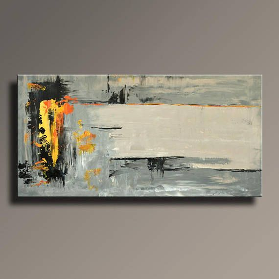 abstract painting black gray orange painting original canvas art contemporary abstract modern. Black Bedroom Furniture Sets. Home Design Ideas