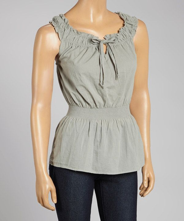 Look what I found on #zulily! Prestige Edge Gray Sleeveless Peasant Top by Prestige Edge #zulilyfinds