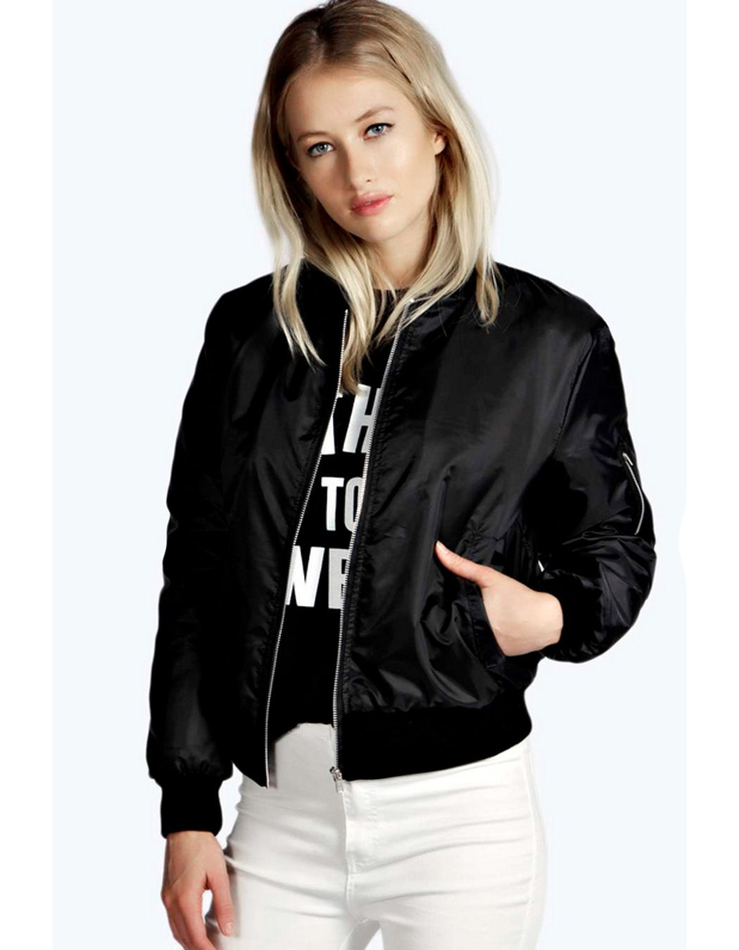 New Womens Celeb Inspired Classic Vintage Zip Up Padded Bomber Jacket Coat XS-L