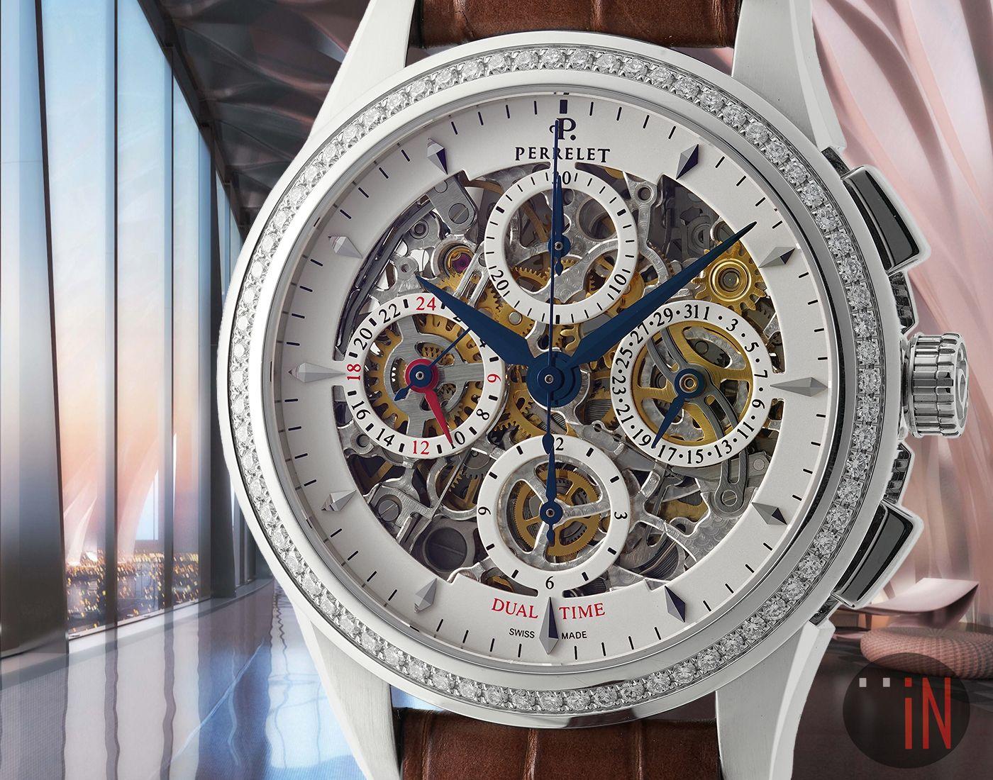 """A Clear View!"" #Perrelet 42mm Skeleton Dual Time Chrono Diamond Bezel Ref#: A1010/10  ($6,725.00 USD) http://www.elementintime.com/Perrelet-Skeleton-Dual-Time-Chronograph-A101010-7038"