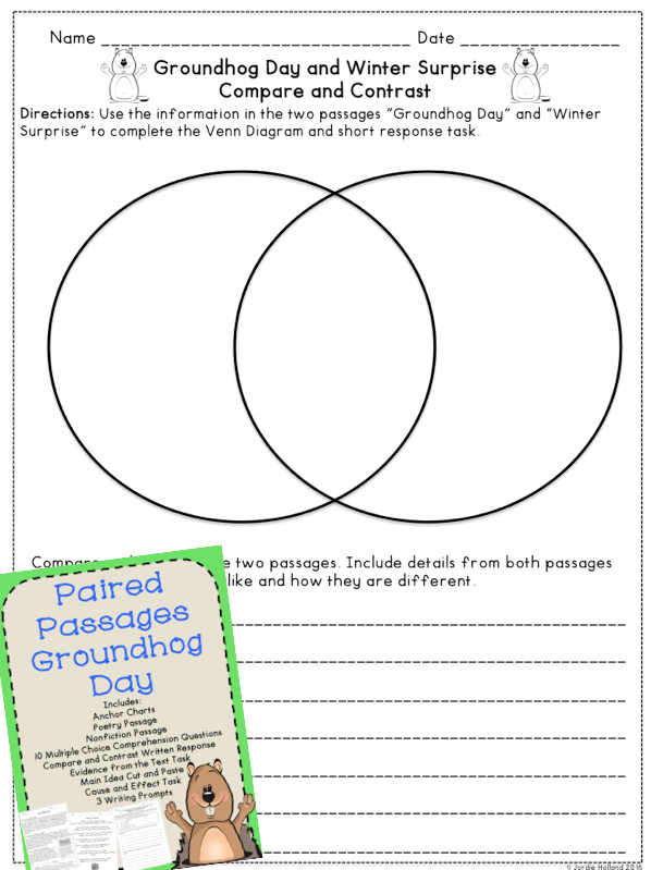 Groundhog day reading comprehension paired passages 3rd grade groundhog day reading comprehension passages poem and nonfiction paired passages with compare and contrast ibookread Download