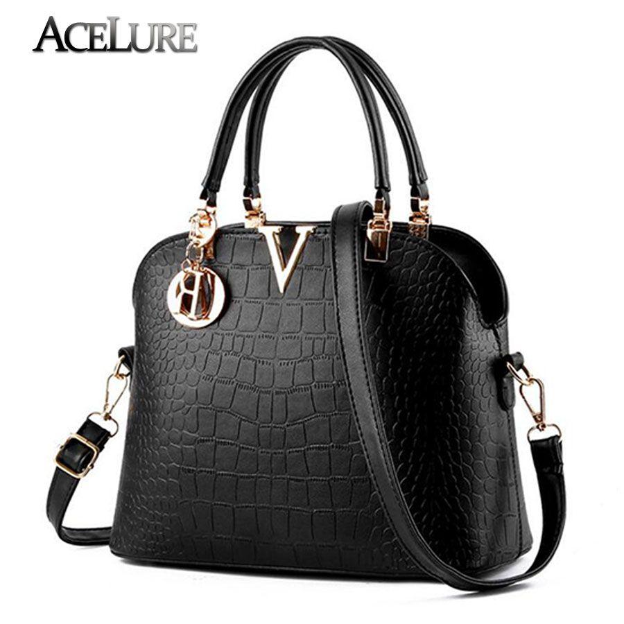 ACELURE Women Famous brand designer Luxury leather handbags women messenger  bag Ladies crocodile pattern Shoulder bag aee72ef6f5