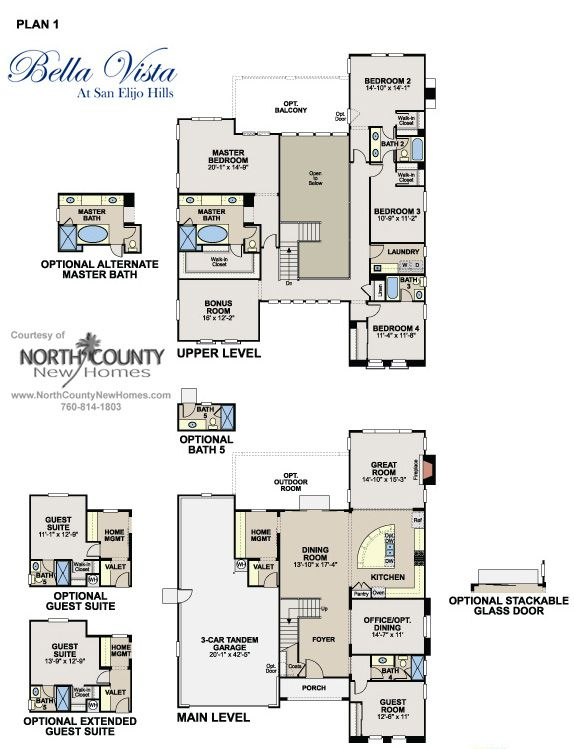 Floor Plan 1 At Bella Vista In San Elijo Hills New Homes For Sale In San Marcos And San Elijo Hills Floor Plans Architectural House Plans How To Plan