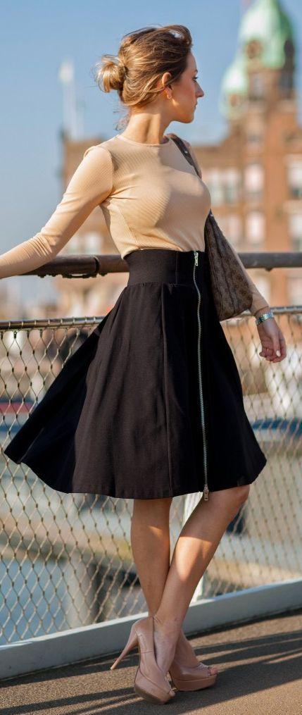 Zip Closure High Rise A-skirt