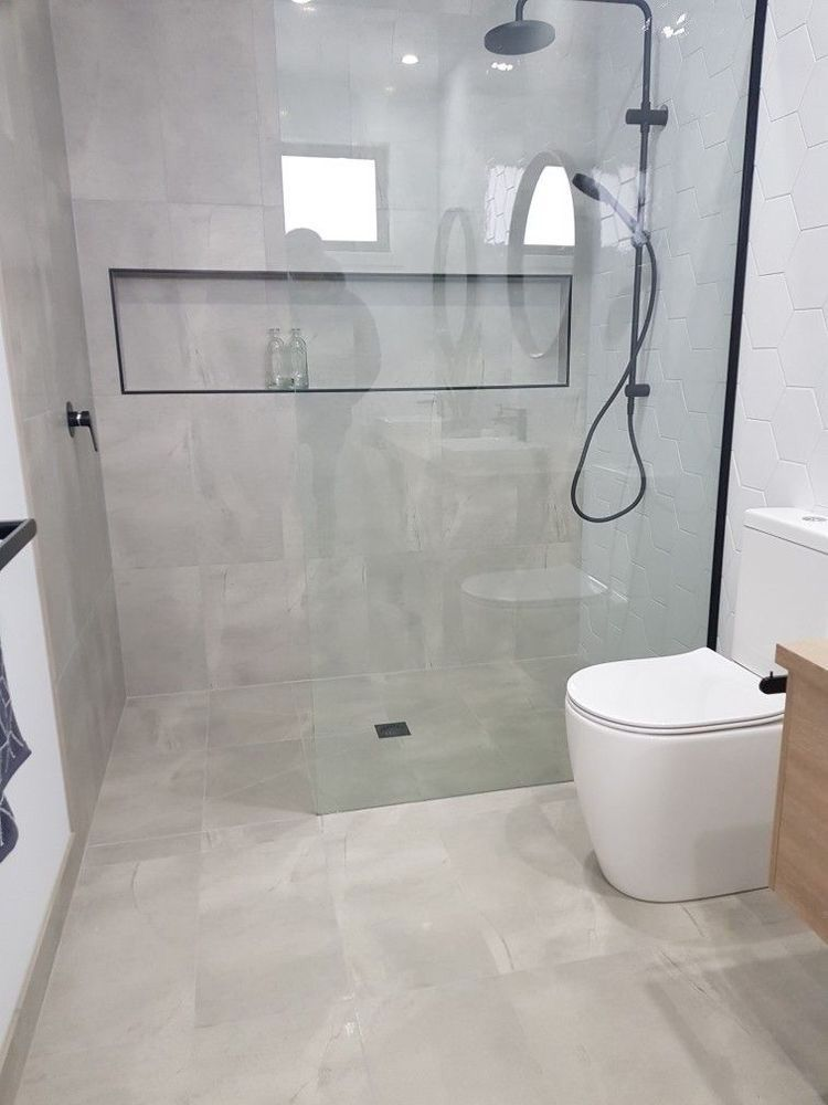 Walk In Shower Black Framed Shower Screen Walk In Shower Small Ensuite Small Bathroom Ideas With Images Bathroom Design Small Bathroom Interior Bathroom Layout