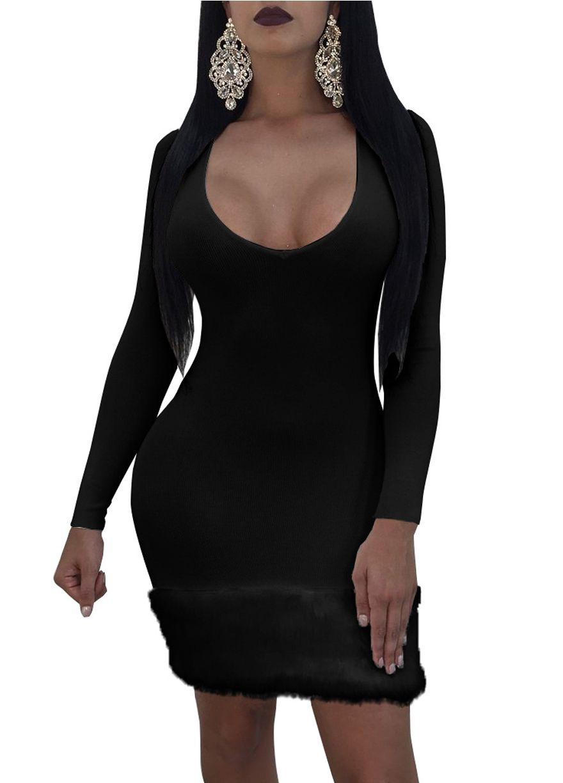 Long sleeve fur hem bodycon dressmini dressdressessexy lingeire