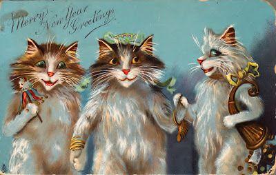 VINTAGE, EL GLAMOUR DE ANTAÑO: Tarjetas vintage con preciosos gatitos 2