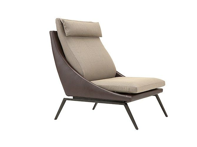Upholstered Armchair With Headrest Light Milano Collection