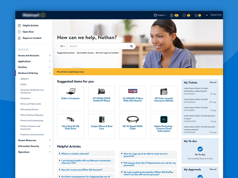 Employee Servicenow Service Portal For Major Retailer Employee Services Service Employee