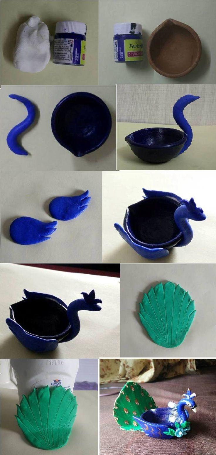 Peacock Diya By Using Clay And Acrylic Color Diwali Diya