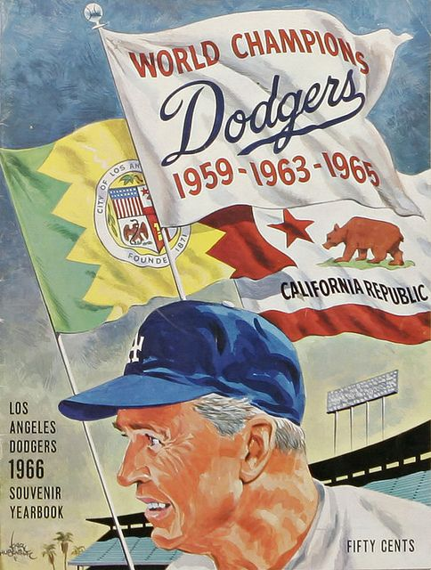 1966 La Dodgers Souvenir Yearbook Los Angeles Dodgers Dodgers Baseball Print