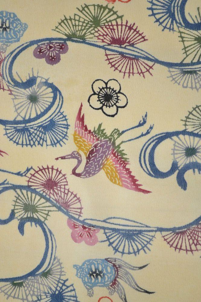VINTAGE SILK KIMONO FABRIC:Crane/Turtle/Chrysanthemum@N05