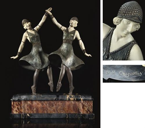 DEMETRE CHIPARUS  BALLETS RUSSES RARE FIGURAL GROUP, CIRCA 1925  patinated bronze, ivory, on marble plinth - christies