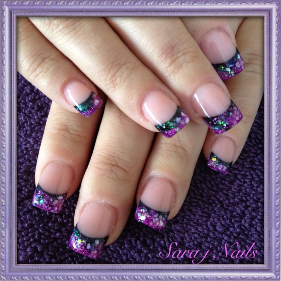 Mixed up purple and black acrylic nails | Nails By Me ...