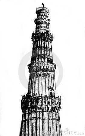 Image result for simple sketch of qutub minar