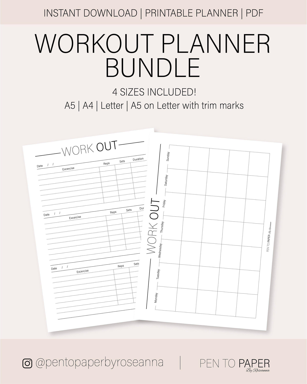 Printable Workout Planner Bundle A5 Planner Bundle A4 | Etsy