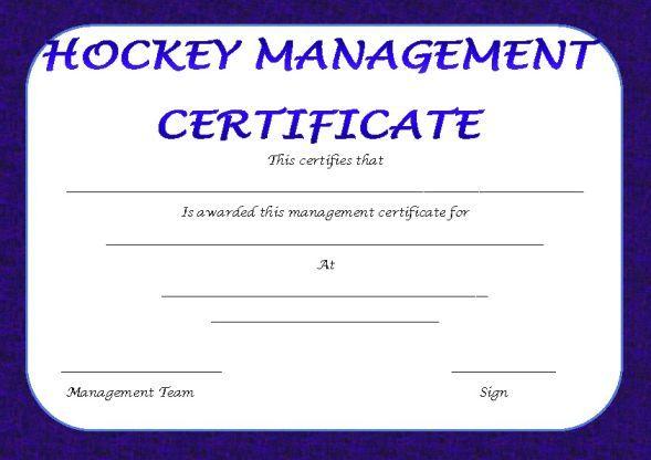 Hockey Management Certificate Hockey Certificate Templates