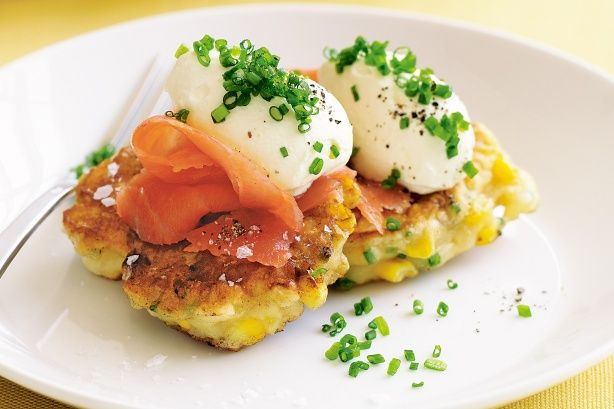 Corn Fritters with salmon. I'd just make one and have a poached egg on top instead of the sour cream.
