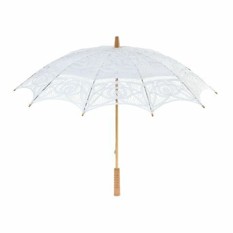 """Get Santana and Brittany's vintage glam look with this White Florence Lace Parasol, inspired by the Season 6 """"Glee"""" wedding."""