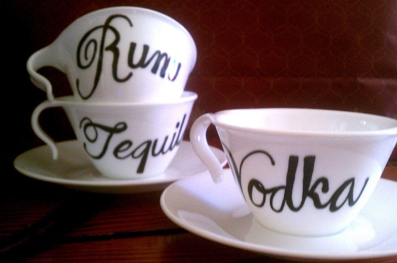 Custom Haindpainted Teacups (Whiskey Vodka Gin Tequila). $12.50, via Etsy.