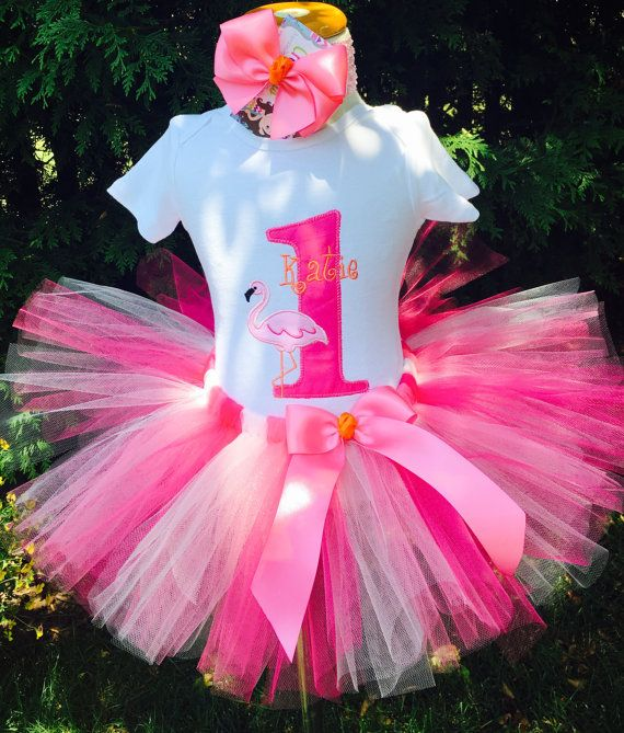 Baby Girl 1st Birthday Tutu Outfit  Flamingo by ChristiCreations