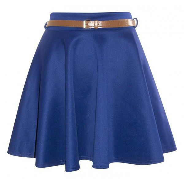 Taylor Royal Blue Belted Jersey Skater Skirt ($15) ❤ liked on Polyvore featuring skirts, bottoms, saias, jupes, belted skirts, blue jersey, flared skirt, jersey skirt and jersey skater skirt