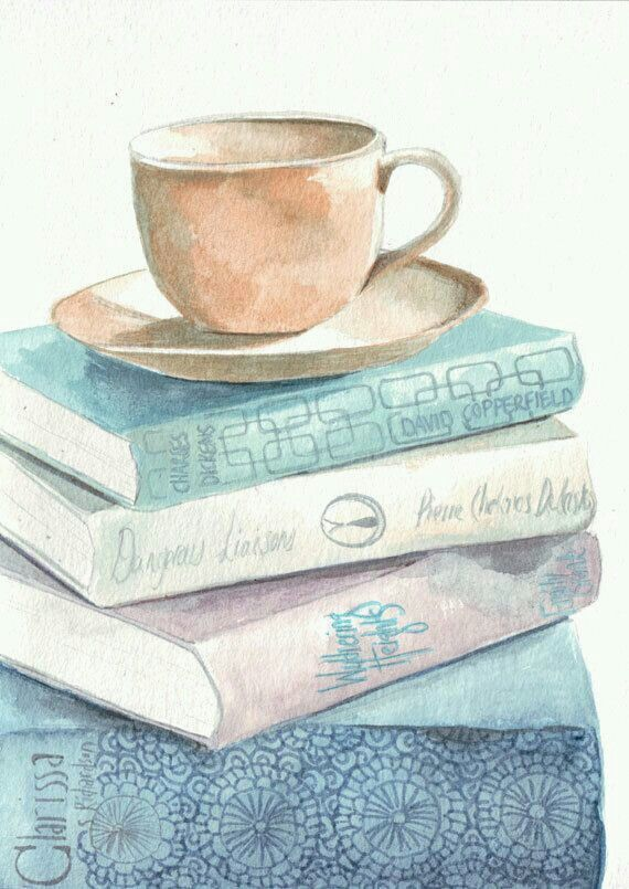 Tea And Books Watercolor Paintings Watercolor Books Reading Art
