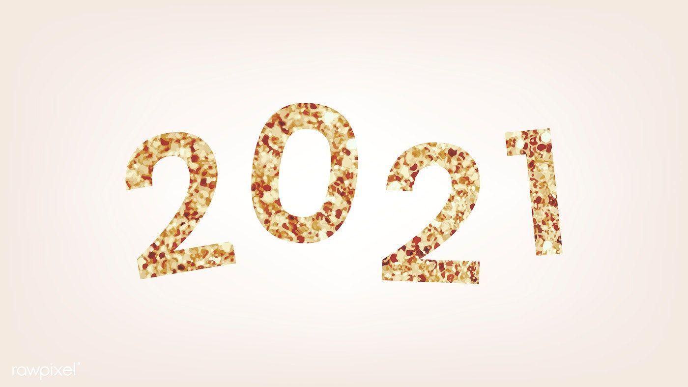Festive golden shimmering 2021 vector free image by