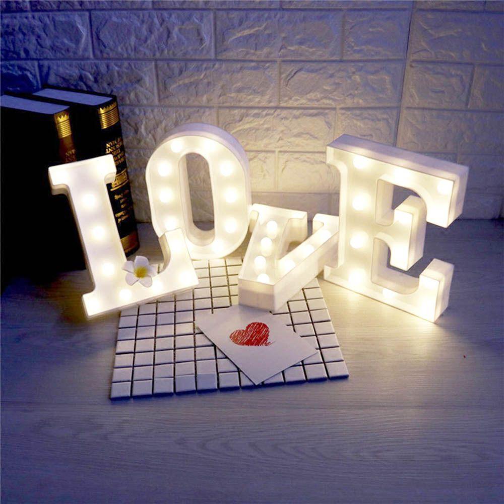 Wedding night bedroom decoration ideas   Letter Alphabet white Night LED Lamp Grow Light Wall Decoration