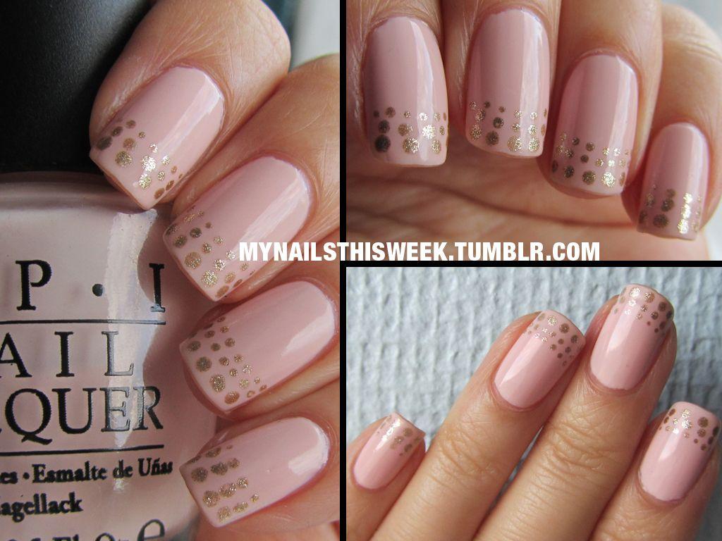 Base: OPI - Natural nail base coatMain: OPI - Sweet HeartGold: Gina ...