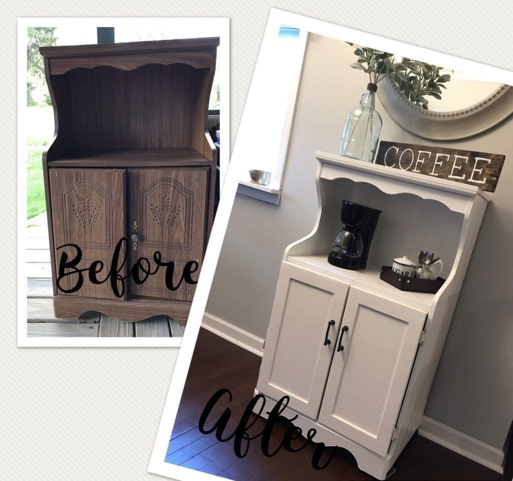 Repurposed Coffee Bar from an old microwave cart Bar