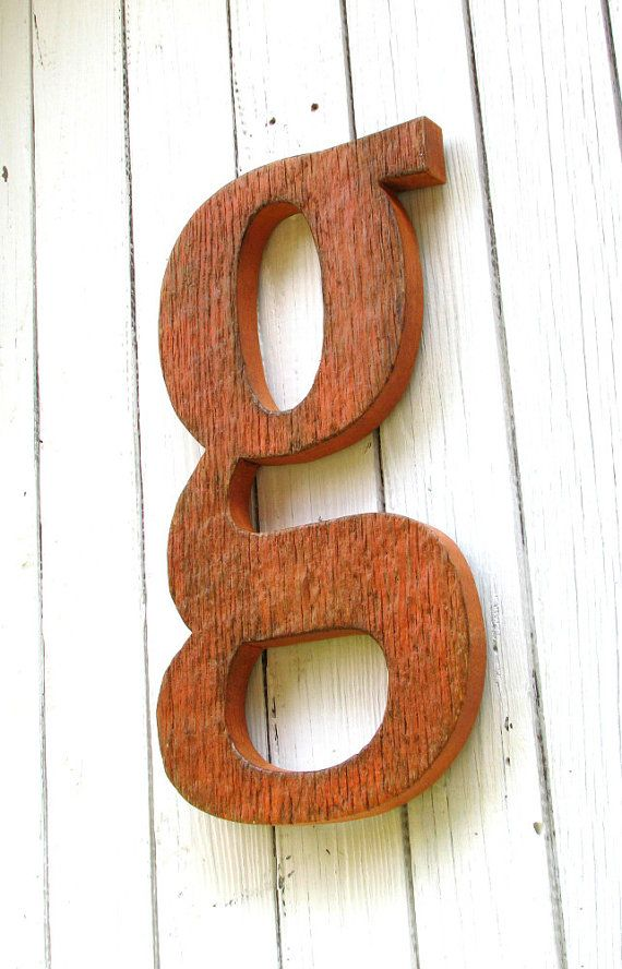 Large Wooden Letter G Lowercase Painted Distressed Rustic Orange