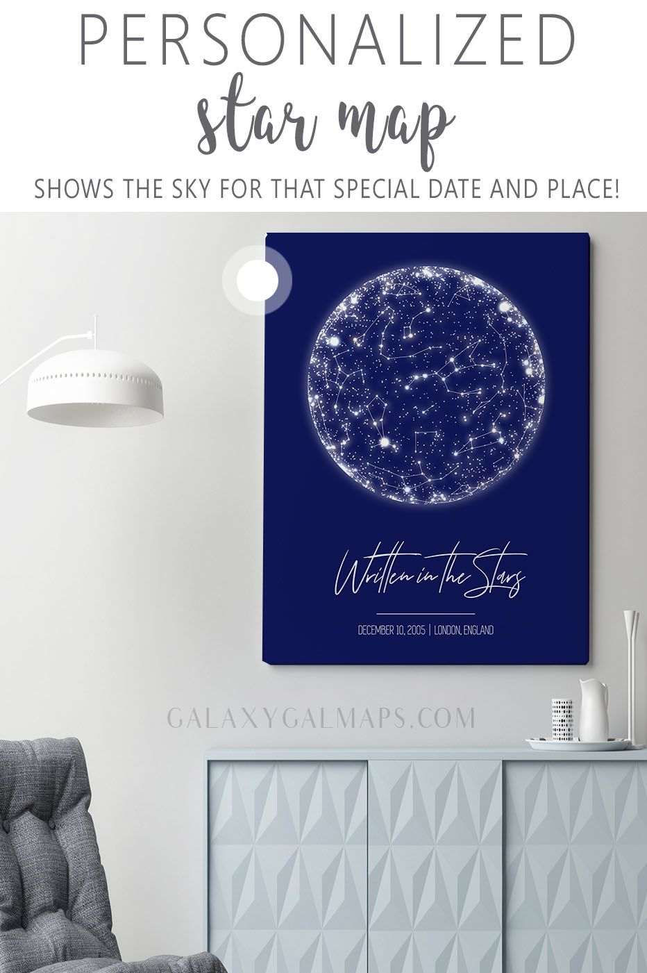 Photo of Get Your PERSONAL Star Map for That Special Date  – winter poster print, Space B…