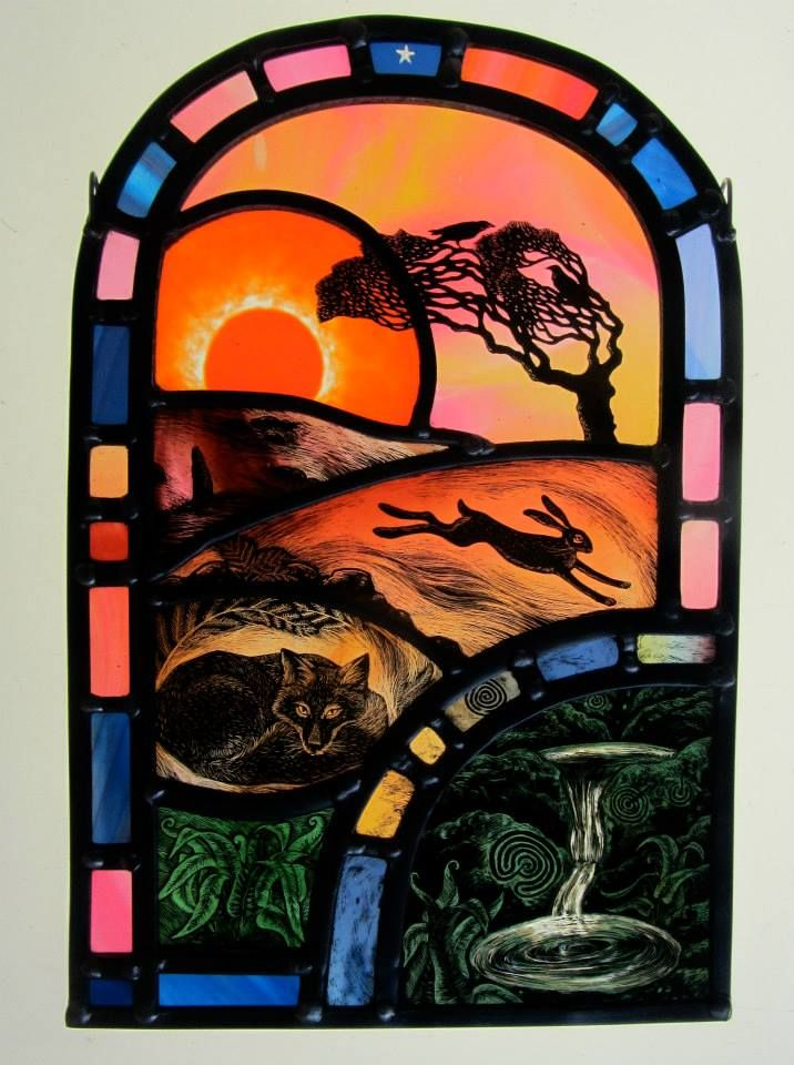 Sunset Over Sacred Spring By Stained Glass Artist Tamsin Abbott