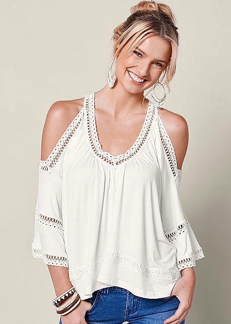 1006856d7f Order a sexy Off White Multi Cold Shoulder Lace Trim Top from VENUS. Shop  short sleeve tops