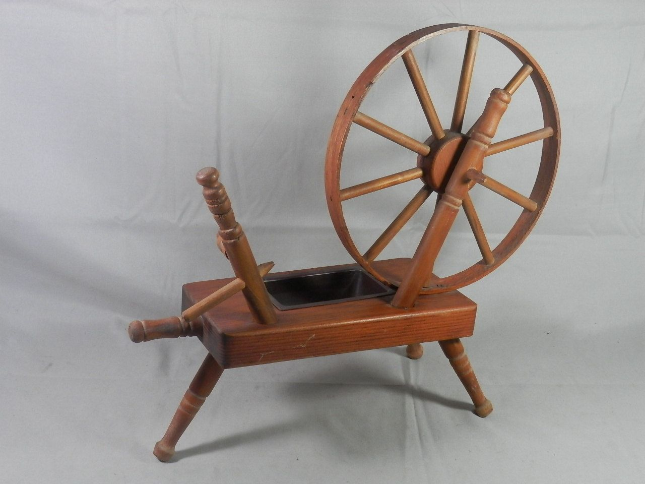 Vintage Spinning Wheel Planter Wood Wooden Table Top